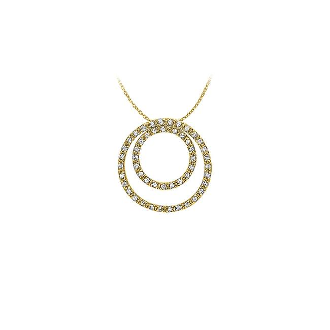 White Yellow April Birthstone Cubic Zirconia Double Circle Pendant In Gold V Necklace White Yellow April Birthstone Cubic Zirconia Double Circle Pendant In Gold V Necklace Image 1