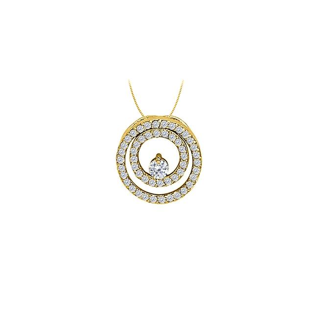 White Yellow Cz Double Circle Pendant In Gold Vermeil Over Sterling Silver 0 Necklace White Yellow Cz Double Circle Pendant In Gold Vermeil Over Sterling Silver 0 Necklace Image 1