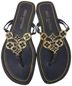 Louis Vuitton Hardware Charm Lv Chain Embellished Brown, Gold Sandals