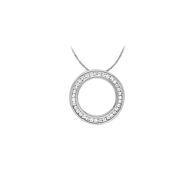 White Silver Cool Gift Cubic Zirconia Circle Pendant In Sterling with Cute F Necklace White Silver Cool Gift Cubic Zirconia Circle Pendant In Sterling with Cute F Necklace Image 1