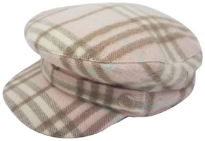 Burberry Pink, tan multicolor Burberry cashmere newsboy cap L sz