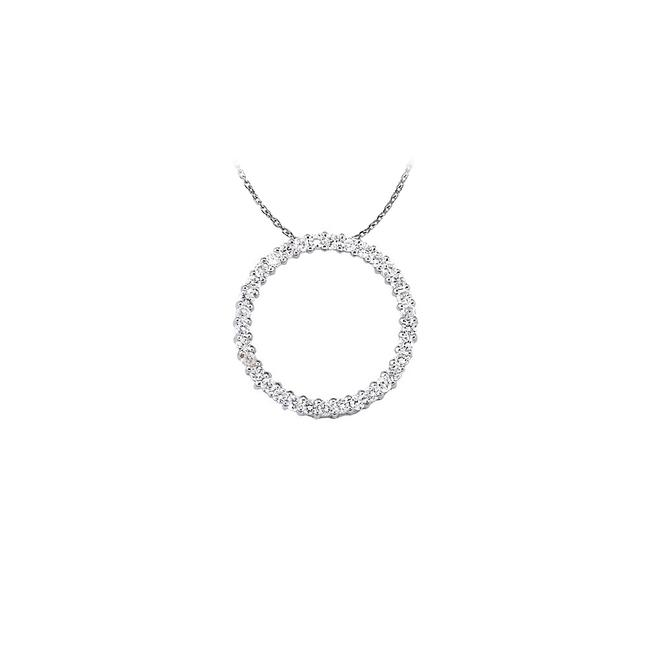 White Silver Fabulous Cubic Zirconia Circle Pendant 925 Sterling Wit Necklace White Silver Fabulous Cubic Zirconia Circle Pendant 925 Sterling Wit Necklace Image 1