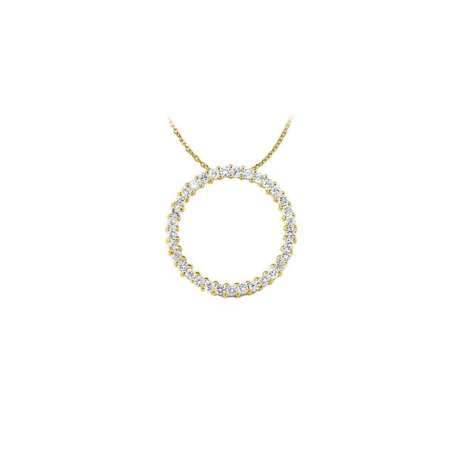 White Yellow Cubic Zirconia Circle Pendant In Gold Vermeil Lovely Gi Necklace White Yellow Cubic Zirconia Circle Pendant In Gold Vermeil Lovely Gi Necklace Image 1