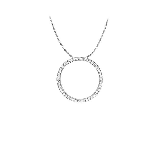 White Silver Cubic Zirconia Circle Pendant In 925 Sterling 1.00 Ct Tgwjewelr Necklace White Silver Cubic Zirconia Circle Pendant In 925 Sterling 1.00 Ct Tgwjewelr Necklace Image 1