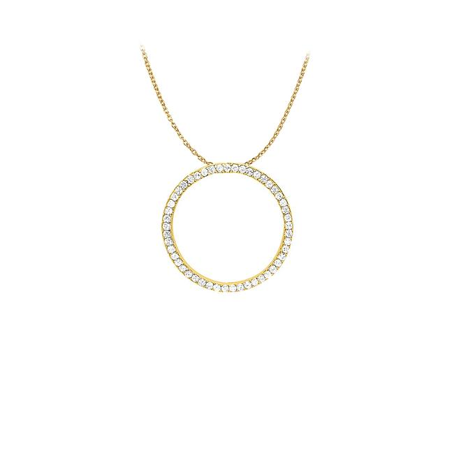 White Yellow Cubic Zirconia Circle Pendant In Gold Vermeil 1.00 Ct Tgwjewelry Gift Necklace White Yellow Cubic Zirconia Circle Pendant In Gold Vermeil 1.00 Ct Tgwjewelry Gift Necklace Image 1