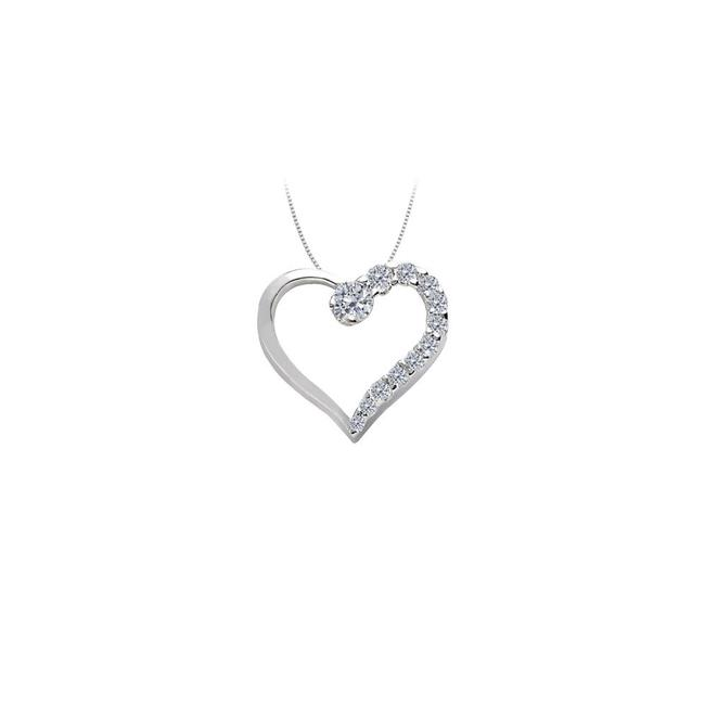 White Silver April Birthstone Cubic Zirconia Heart Pendant In Sterling 0.50 Necklace White Silver April Birthstone Cubic Zirconia Heart Pendant In Sterling 0.50 Necklace Image 1
