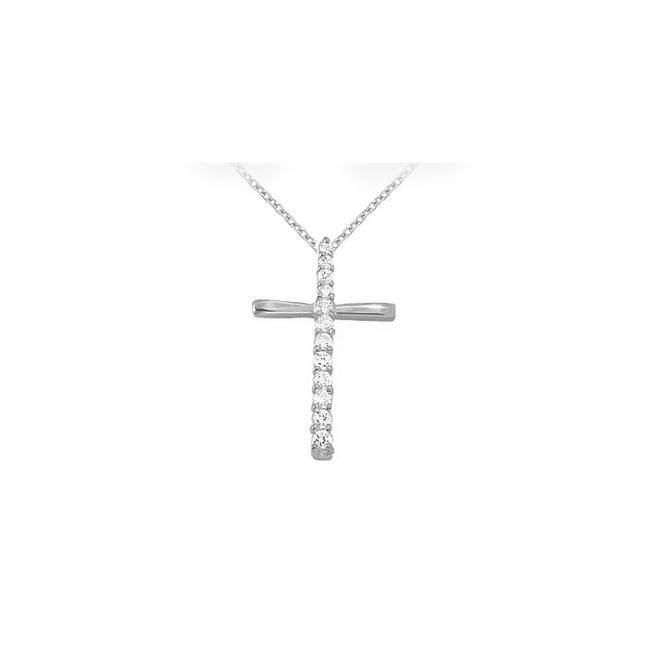 White Silver April Birthstone Cubic Zirconia Cross Pendant In 925 Sterling Necklace White Silver April Birthstone Cubic Zirconia Cross Pendant In 925 Sterling Necklace Image 1