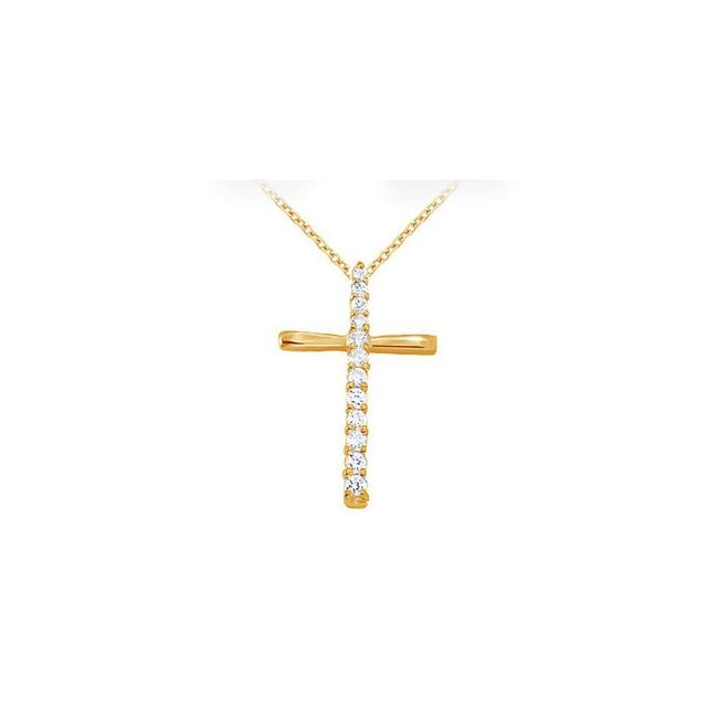 White Yellow April Birthstone Cubic Zirconia Cross Pendant In 18k Gold Verme Necklace White Yellow April Birthstone Cubic Zirconia Cross Pendant In 18k Gold Verme Necklace Image 1