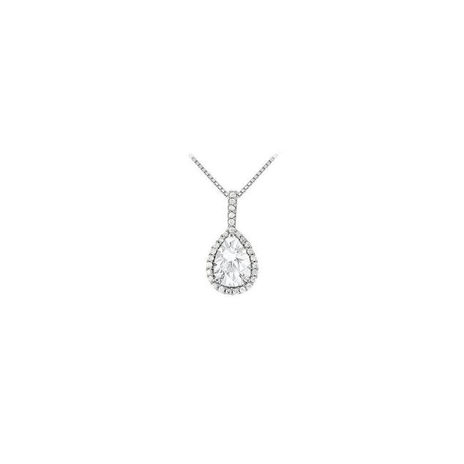 White Silver Fancy Teardrop Cubic Zirconia Halo Pendant In Sterling 1.50 Ct Necklace White Silver Fancy Teardrop Cubic Zirconia Halo Pendant In Sterling 1.50 Ct Necklace Image 1