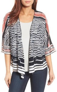 NIC+ZOE Belted Circle Print Gray Red Cotton Cardigan