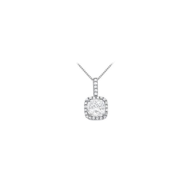 White Silver April Birthstone Cubic Zirconia Halo Pendant In 925 Sterling Necklace White Silver April Birthstone Cubic Zirconia Halo Pendant In 925 Sterling Necklace Image 1