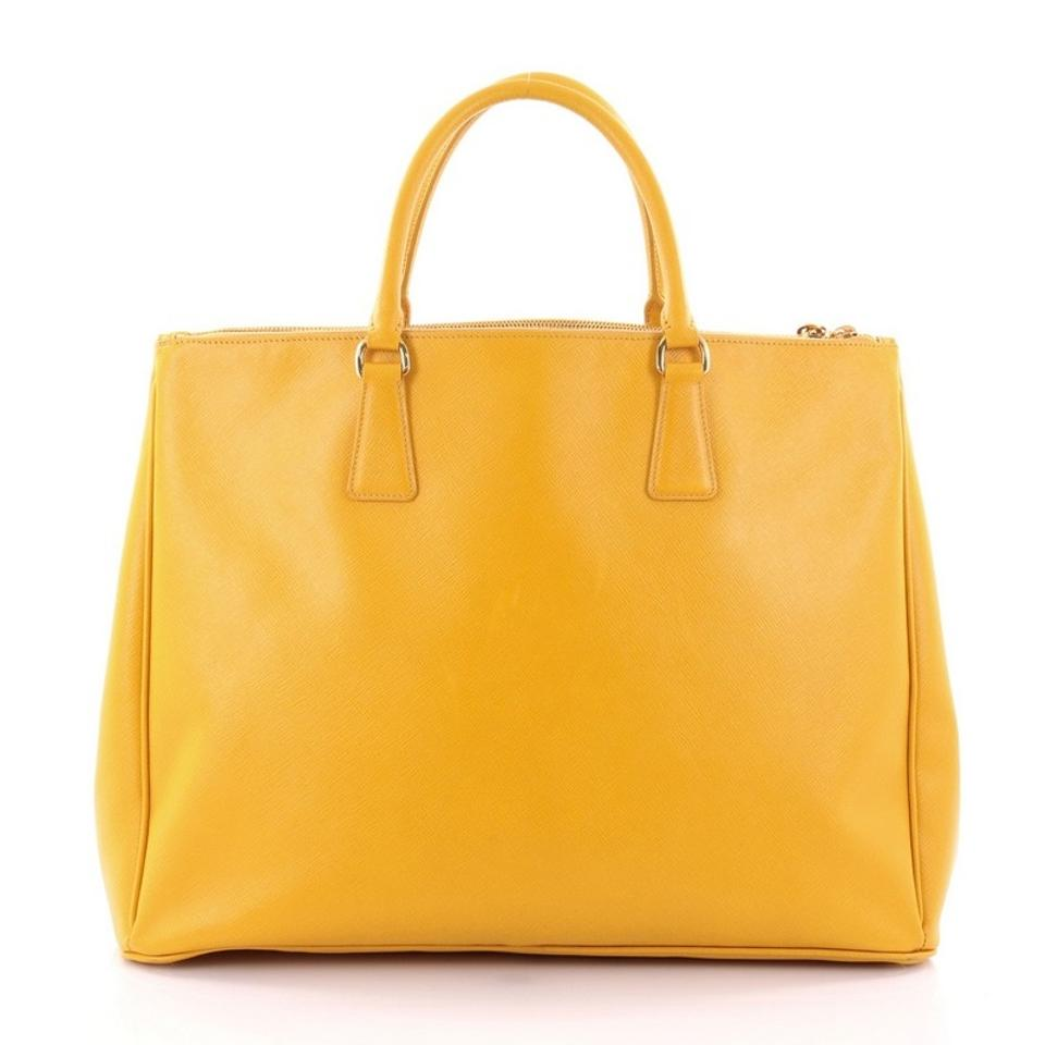 4e9772eed340 Prada Double Lux Zip Saffiano Large Yellow Leather Tote - Tradesy
