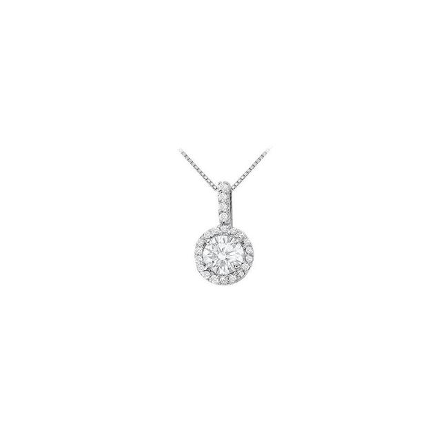 White Silver Fancy Round Cubic Zirconia Halo Pendant In 925 Sterling 1.25 Ct Necklace White Silver Fancy Round Cubic Zirconia Halo Pendant In 925 Sterling 1.25 Ct Necklace Image 1