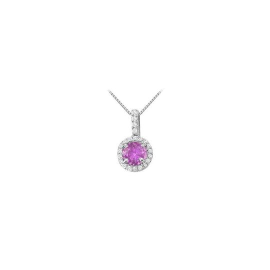 Preload https://img-static.tradesy.com/item/22599569/purple-silver-fancy-round-february-birthstone-amethyst-and-cubic-zirconia-halo-penda-necklace-0-0-540-540.jpg