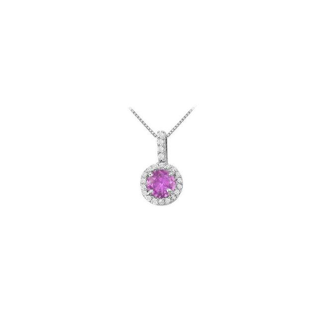 Purple Silver Fancy Round February Birthstone Amethyst and Cubic Zirconia Halo Penda Necklace Purple Silver Fancy Round February Birthstone Amethyst and Cubic Zirconia Halo Penda Necklace Image 1