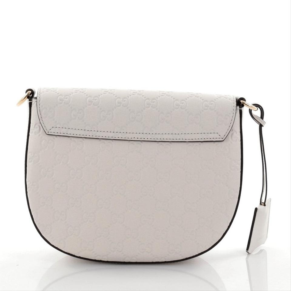 b96a83142a3b32 Gucci Padlock Saddle Guccissima Medium White Leather Shoulder Bag ...