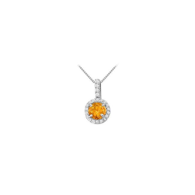 Yellow Silver Fancy Round Citrine and Cubic Zirconia Halo Pendant In Sterling Necklace Yellow Silver Fancy Round Citrine and Cubic Zirconia Halo Pendant In Sterling Necklace Image 1