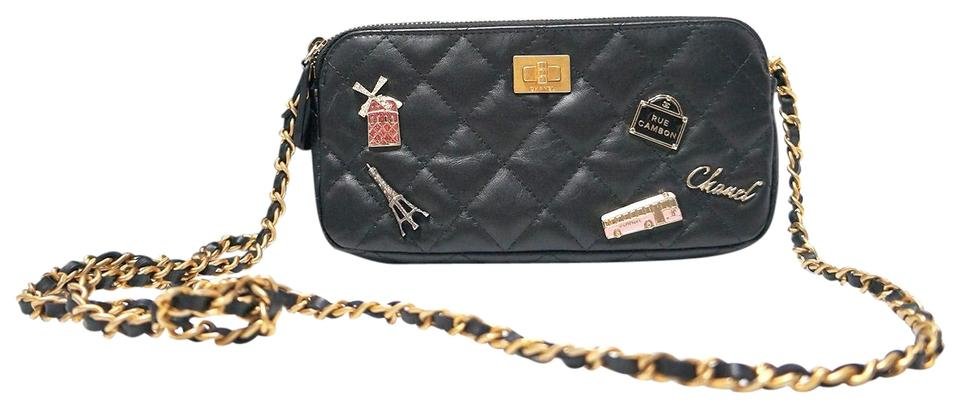 34ad22d08529b1 Chanel Wallet on Chain Double Zip Lucky Charm Gold Hardware Black ...
