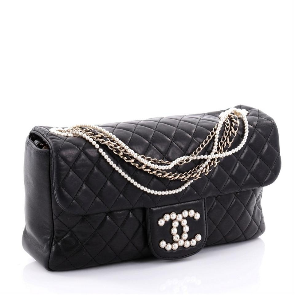 8c03813adb19 Chanel Classic Flap Westminster Pearl Chain Quilted Medium Black Lambskin  Shoulder Bag - Tradesy