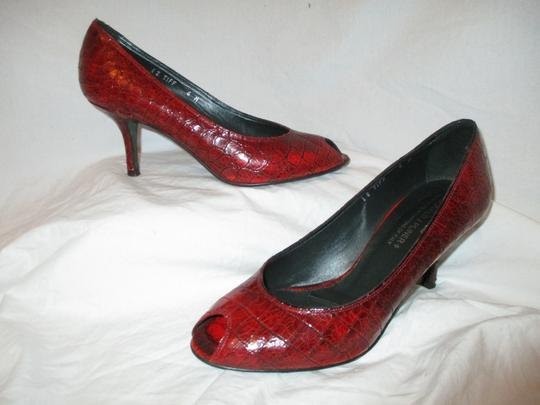 Donald J. Pliner Croc Leather Patent Leather Peep Toe Open Toe red Pumps Image 1