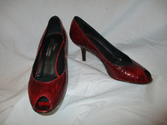 Donald J. Pliner Croc Leather Patent Leather Peep Toe Open Toe red Pumps Image 10