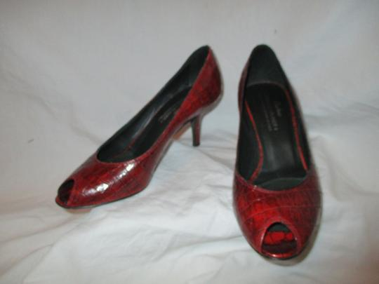Donald J. Pliner Croc Leather Patent Leather Peep Toe Open Toe red Pumps Image 11