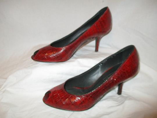 Donald J. Pliner Croc Leather Patent Leather Peep Toe Open Toe red Pumps Image 2