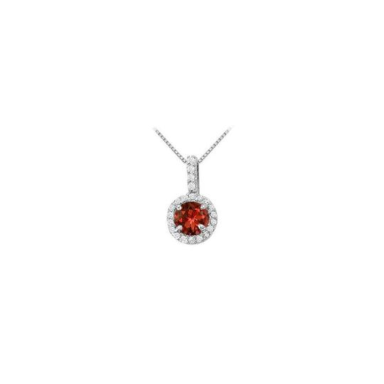Preload https://img-static.tradesy.com/item/22599783/red-silver-fancy-round-garnet-and-cubic-zirconia-halo-pendant-in-925-sterling-necklace-0-0-540-540.jpg