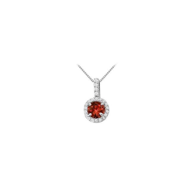 Red Silver Fancy Round Garnet and Cubic Zirconia Halo Pendant In 925 Sterling Necklace Red Silver Fancy Round Garnet and Cubic Zirconia Halo Pendant In 925 Sterling Necklace Image 1