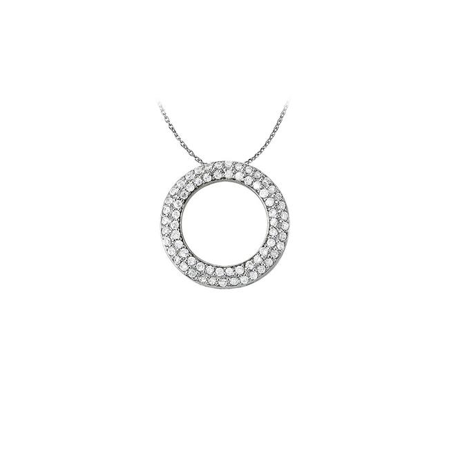 White Silver Cool Gift Cubic Zirconia Double Circle Pendant In Sterling With Necklace White Silver Cool Gift Cubic Zirconia Double Circle Pendant In Sterling With Necklace Image 1