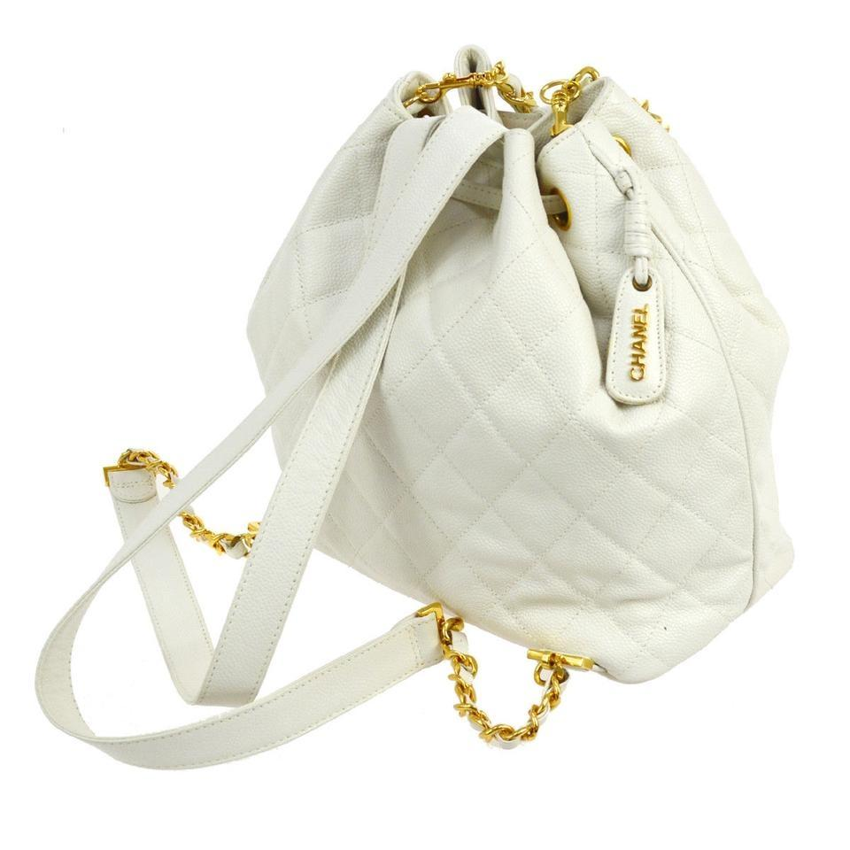 Chanel Backpack White Vintage Bucket Rucksack Cream Caviar Leather ... aeefa8fc1554b