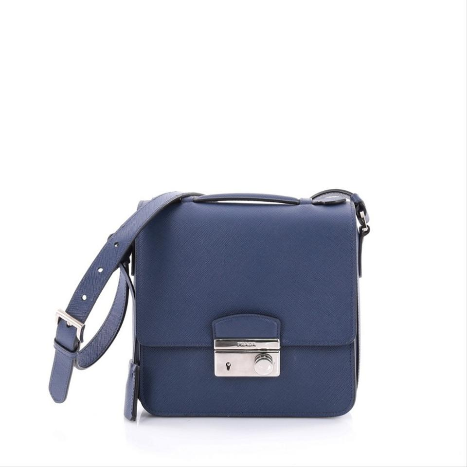 652a7d9c602d Prada Lux Sound Saffiano Small Navy Leather Cross Body Bag - Tradesy