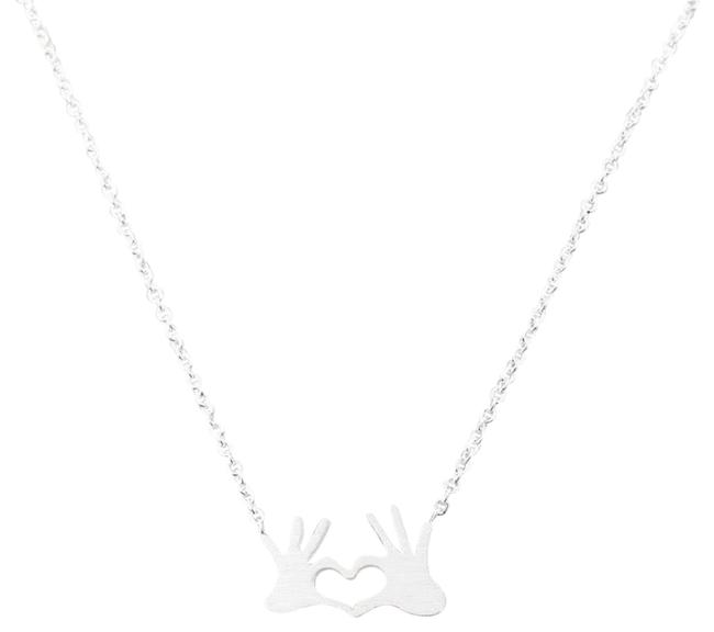 Top Gold & Diamond Jewelry Silver Chain Double Hand Love Heart Pendant Necklace Top Gold & Diamond Jewelry Silver Chain Double Hand Love Heart Pendant Necklace Image 1