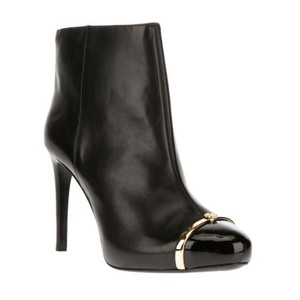 Tory Burch Ankle Stiletto Leather And Gold Back Boots