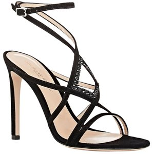 Gianvito Rossi Crystal Embellished Strappy Black Sandals