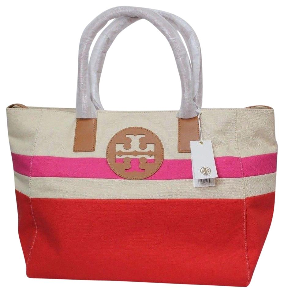 Tory Burch Summer Canvas Logo Large Red Pink Natural Beach Bag