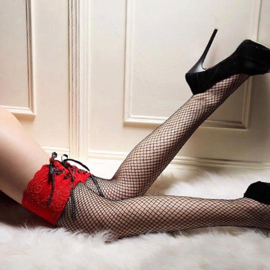 Queenesthershop Women Sexy Stockings Sheer Straps Lace Fishnet Mesh Top Thigh High Sexy Lingerie Tight High Stockings