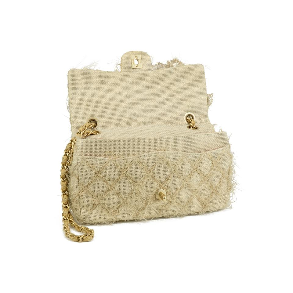 887016682b47 Chanel Classic Flap Straw Camelia Nude Beige Jute Tweed Rope Shoulder Bag -  Tradesy
