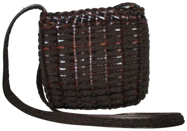Vintage Woven Fabric Brown Leather & Textile Cross Body Bag Vintage Woven Fabric Brown Leather & Textile Cross Body Bag Image 1