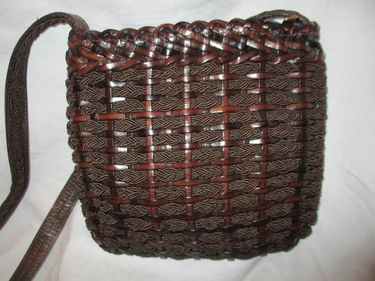 Fia'le Collection Vintage Leather Woven Cross Body Bag