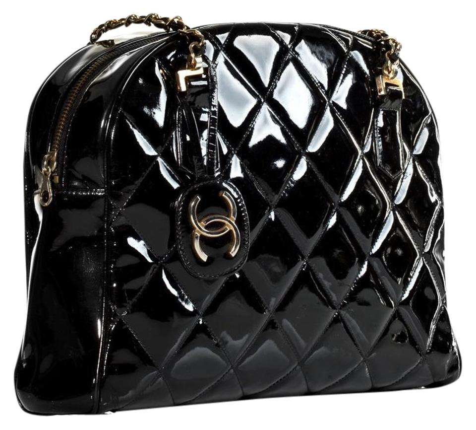 Chanel Quilted Tote Very Rare Limited Edition Black Patent Leather ... 23a20ec1106ea