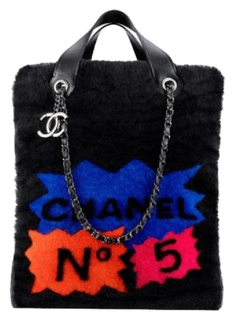 Chanel Runway Patchwork Black and Multi Shearling Lambskin Tote Image 1