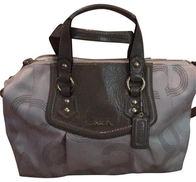 Coach Beige and Brown Cloth Satchel Coach Beige and Brown Cloth Satchel Image 1