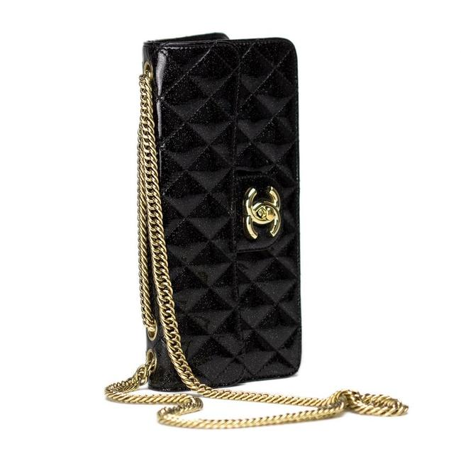 Chanel Classic Hyper Rare Iridescent Sparkle Flap With Black Patent Leather Shoulder Bag Chanel Classic Hyper Rare Iridescent Sparkle Flap With Black Patent Leather Shoulder Bag Image 1