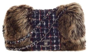 Chanel Tweed Fur Jumbo Rare Shoulder Bag - item med img