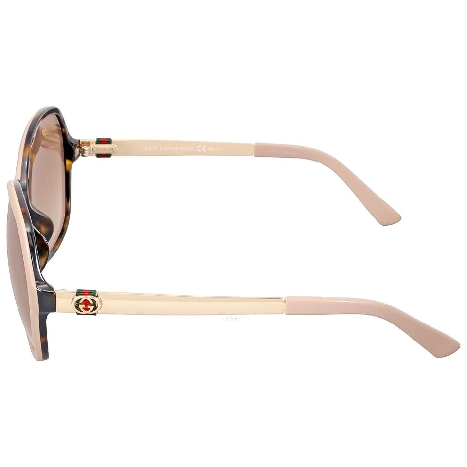 deaf3ee2f14df Gucci Beige and Gold New (Gg 3796) Oversize Round Gg Logo Designer ...