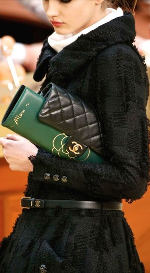 Chanel Flap Rare Green & Black Clutch Image 5