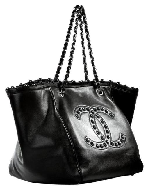 Chanel Bag Pearl Rare Black Lambskin Leather Tote Chanel Bag Pearl Rare Black Lambskin Leather Tote Image 1