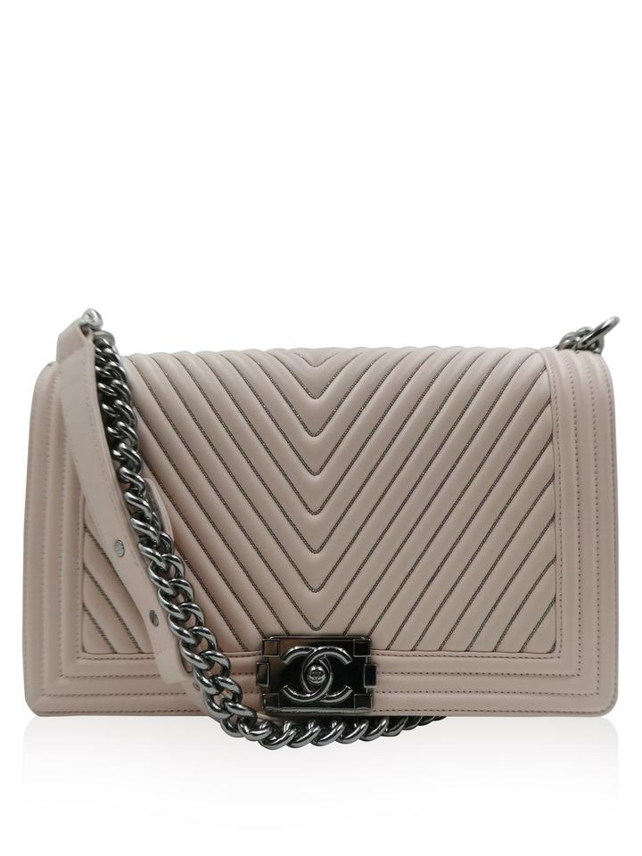 ceb8b722a444 Chanel Boy Beaded Chevron Quilted Blush Pink Lambskin Leather ...