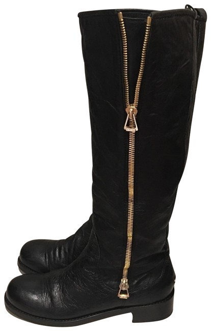 Jimmy Choo Black Doreen Flat Zip Knee Boots/Booties Size EU 41 (Approx. US 11) Regular (M, B) Image 1